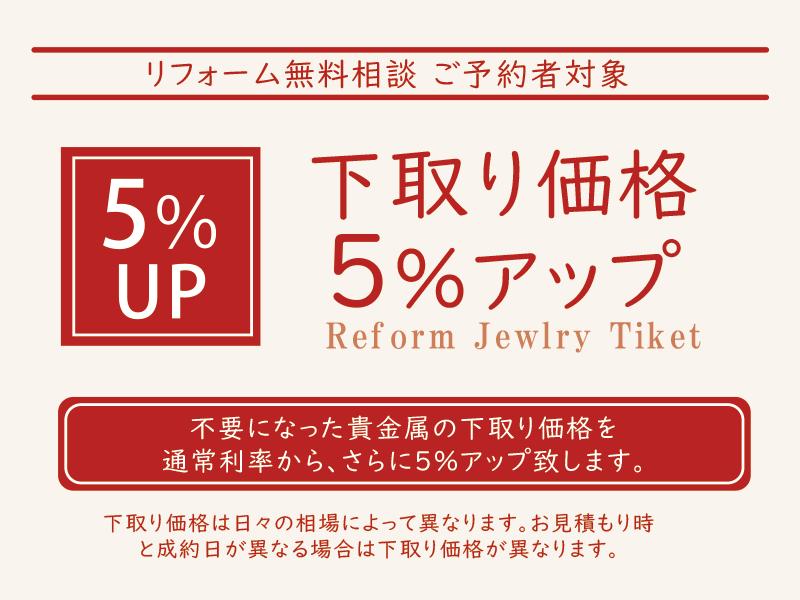 下取り価格5%UP